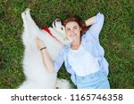 fluffy husky. cute fluffy husky ... | Shutterstock . vector #1165746358