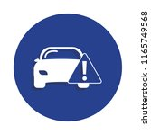 car warning icon in badge style....