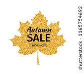 autumn sale. gold leave with... | Shutterstock .eps vector #1165754692