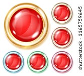 set of glass buttons of red... | Shutterstock . vector #1165759645
