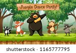 jungle dance party animals... | Shutterstock .eps vector #1165777795