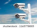 cctv systems on sky background | Shutterstock . vector #1165778005