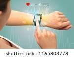 hand with smartwatch and... | Shutterstock . vector #1165803778