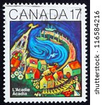 Small photo of CANADA - CIRCA 1981: a stamp printed in the Canada shows Painting of Acadia, Acadian Congress Centenary, circa 1981