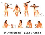 stone age people icon set....