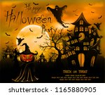 happy halloween background with ... | Shutterstock .eps vector #1165880905