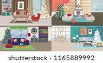 set of christmas interiors with ... | Shutterstock .eps vector #1165889992