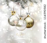 light christmas background with ... | Shutterstock .eps vector #116590582