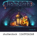 halloween background   cartoon... | Shutterstock .eps vector #1165926268