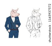 pig man dressed up in classy... | Shutterstock .eps vector #1165937572