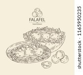 falafel in pita with vegetables ... | Shutterstock .eps vector #1165950235