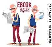 e book reader vector. old man.... | Shutterstock .eps vector #1165953112