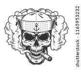 skull in smoke cloud and sailor ... | Shutterstock .eps vector #1165953232