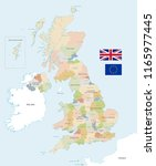 vector map of the uk with... | Shutterstock .eps vector #1165977445