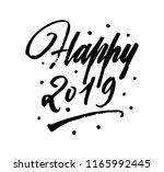 happy 2019 brush pen lettering. ...   Shutterstock .eps vector #1165992445