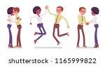 male  female friends meeting ... | Shutterstock .eps vector #1165999822