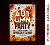 autumn party flyer illustration ... | Shutterstock .eps vector #1166000692