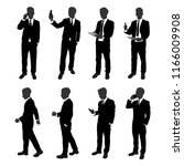 vector set of stand businessman ... | Shutterstock .eps vector #1166009908