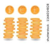 coins stacks  dollar  euro ... | Shutterstock .eps vector #1166014828