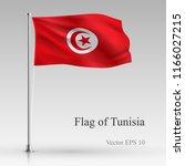 national flag of tunisia... | Shutterstock .eps vector #1166027215