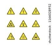 yellow warning hazard signs set ... | Shutterstock .eps vector #1166028952