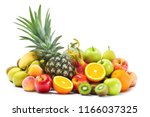 group of fresh fruits and... | Shutterstock . vector #1166037325