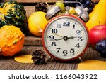 Autumn Background With Clock...