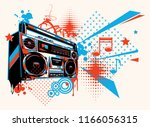 funky colorful boom box music... | Shutterstock .eps vector #1166056315