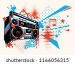 funky boombox music graffiti | Shutterstock .eps vector #1166056315