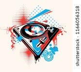 funky turntable music graffiti | Shutterstock .eps vector #1166056318