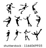 big set of art different pose... | Shutterstock .eps vector #1166069935