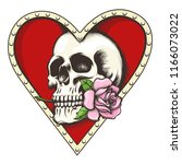 human skull with rose flower in ... | Shutterstock .eps vector #1166073022