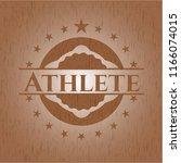 athlete realistic wood emblem   Shutterstock .eps vector #1166074015