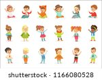 young children dressed in cute... | Shutterstock .eps vector #1166080528