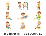 little kids in art class in... | Shutterstock .eps vector #1166080762