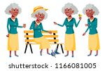 old woman poses set vector.... | Shutterstock .eps vector #1166081005