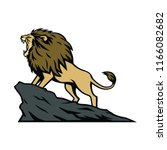 lion roaring on the mountain... | Shutterstock .eps vector #1166082682