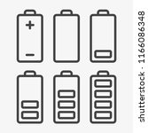 outline icon set of battery... | Shutterstock .eps vector #1166086348