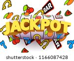 golden slot machine wins the... | Shutterstock .eps vector #1166087428