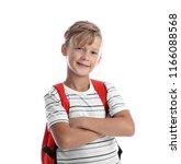 cute little schoolboy on white... | Shutterstock . vector #1166088568