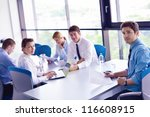 group of happy young  business... | Shutterstock . vector #116608915