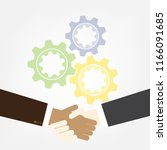 shaking hands with gear on... | Shutterstock .eps vector #1166091685