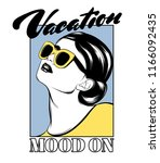 vacation mood on. vector hand... | Shutterstock .eps vector #1166092435