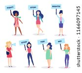 vector woman standing holding... | Shutterstock .eps vector #1166097145