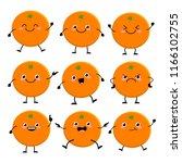 cute orange characters set ... | Shutterstock .eps vector #1166102755