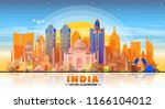 india skyline with panorama in... | Shutterstock .eps vector #1166104012