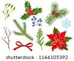 set of merry christmas winter... | Shutterstock .eps vector #1166105392