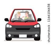 young couple in his car  happy...   Shutterstock .eps vector #1166106658