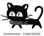 funny cat  black silhouette ... | Shutterstock .eps vector #1166120362