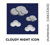 cloudy night icon vector... | Shutterstock .eps vector #1166132632